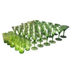 Art Deco Large Green Glass Champagne Wine Water Set, Austria 1920s