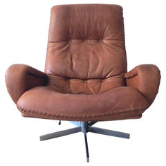 De Sede S 231 James Bond Vintage Chocolate Brown Leather Lounge Swivel Armchair
