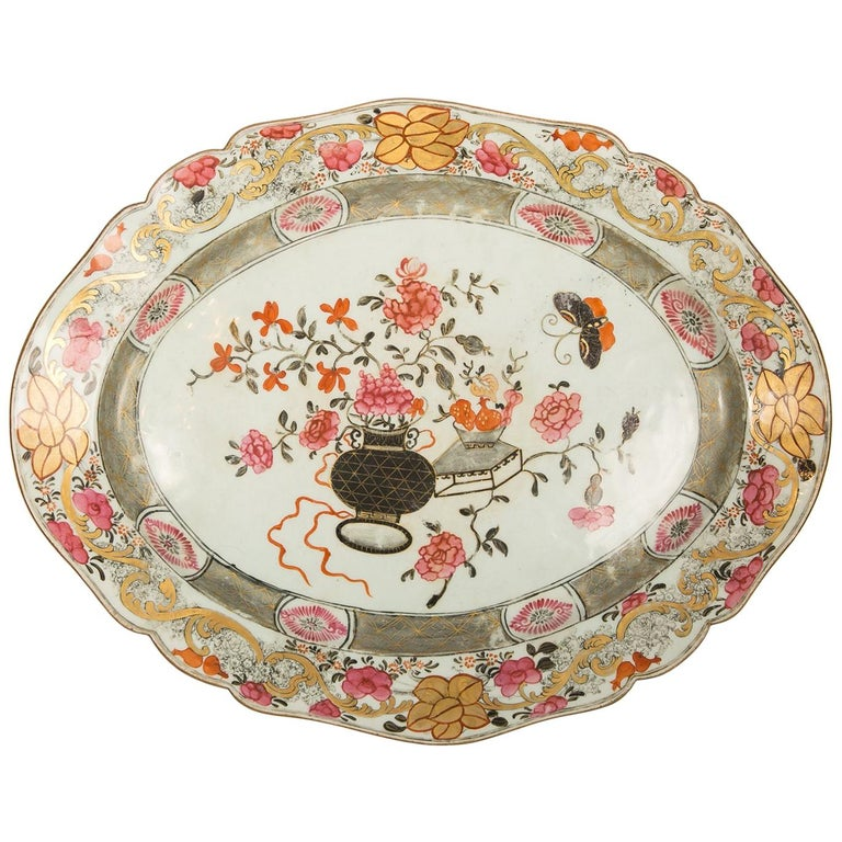 Large Antique Chinese Porcelain Platter Qing Dynasty,  Mid 19th Century For Sale