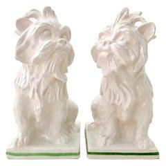 Midcentury Italian Pair of Staffordshire Style Ceramic Terrier Dog Sculptures