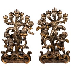 Matched Pair of 18th Century Italian Silver Gilt Figurative Candelabra
