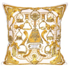 Vintage Gold Hermès Equestrian French Fabric with Irish Linen Pillow Cushion