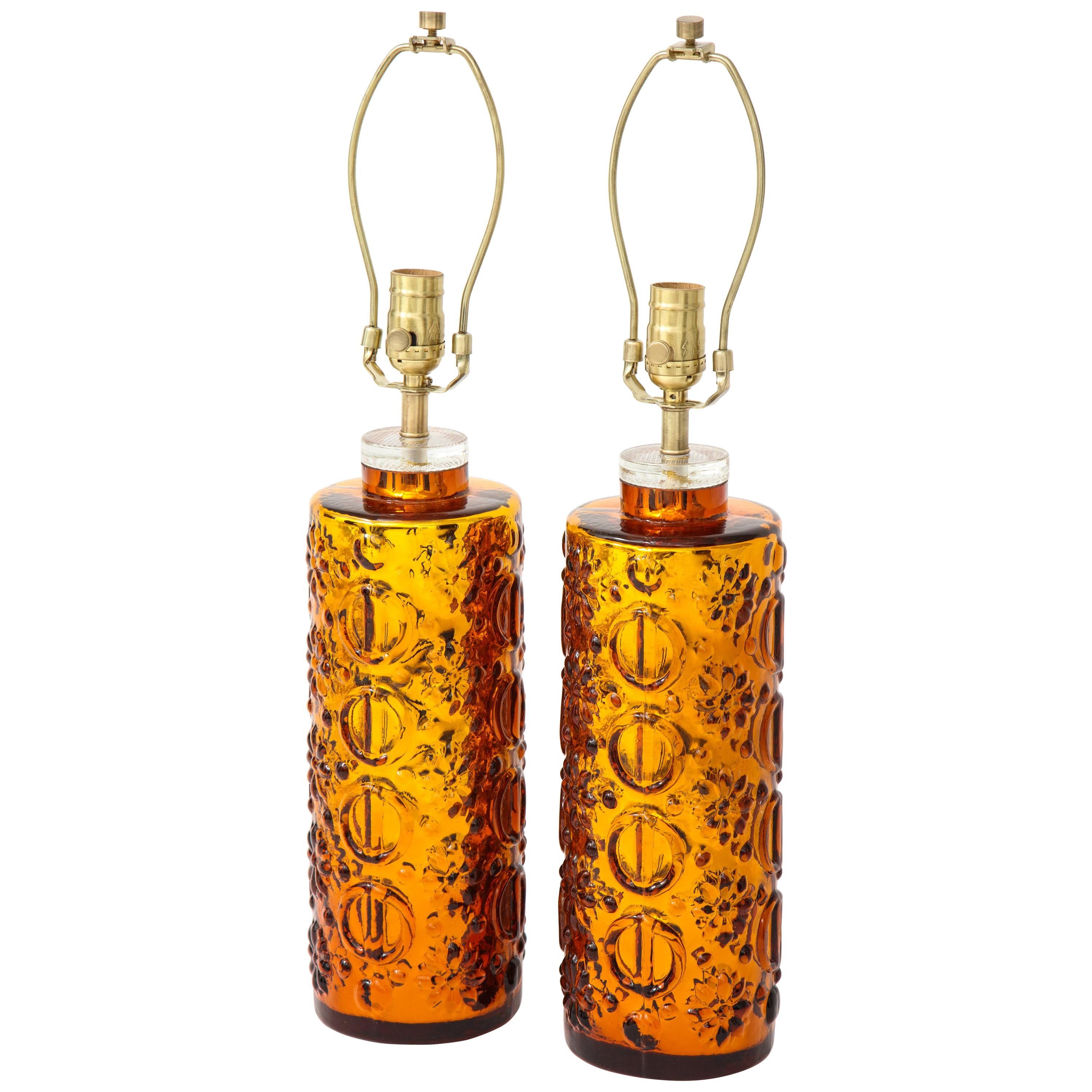 Johansfors Patterned Gold Mercury Glass Lamps