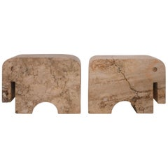 Pair of Travertine Flli Mannelli Elephant Bookends