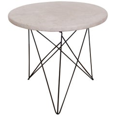 Martin Perfit for Rene Brancusi Terrazzo Top Occasional Table with Strut Base