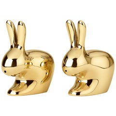 Ghidini 1961 Rabbit Salt and Pepper Set in Brass by Stefano Giovannoni