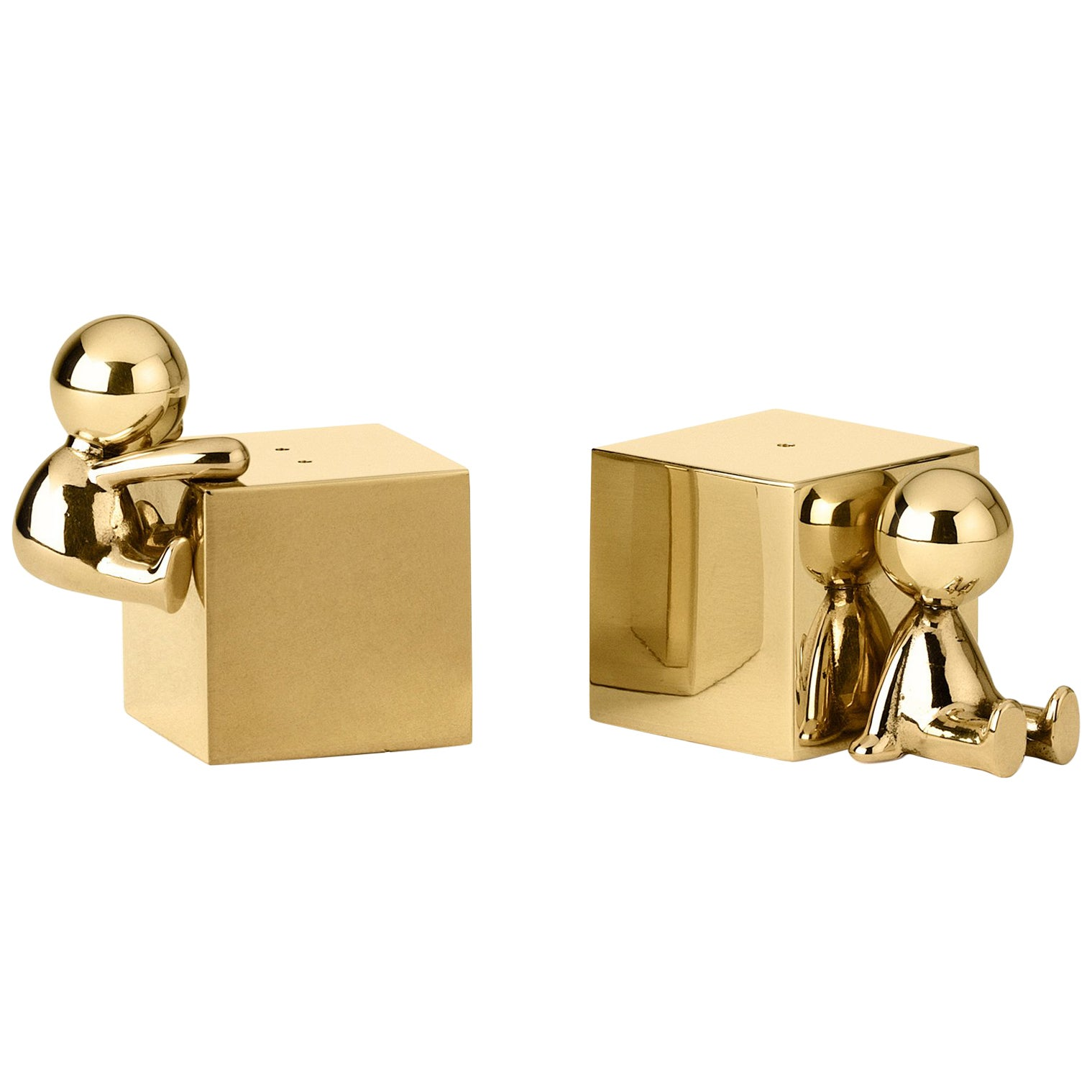 Ghidini 1961 Omini Salt and Pepper Set in Gold by Stefano Giovannoni