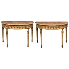 Pair of 19th Century Italian Giltwood & Peche D'alap Marble Top Consoles