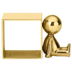 Ghidini 1961 Omini Napkin Holder 3 in Polished Brass by Stefano Giovannoni