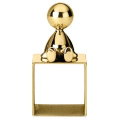 Ghidini 1961 Omini Napkin Holder 2 in Polished Brass by Stefano Giovannoni