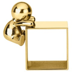Ghidini 1961 Omini Napkin Holder 1 in Polished Brass by Stefano Giovannoni