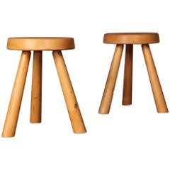 Pair of Charlotte Perriand Stool from Les Arcs