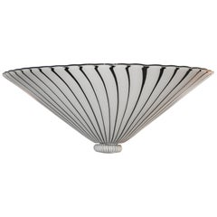 Black and White Murano Vetri d`Arte Zebra Ceiling Light, 1960s