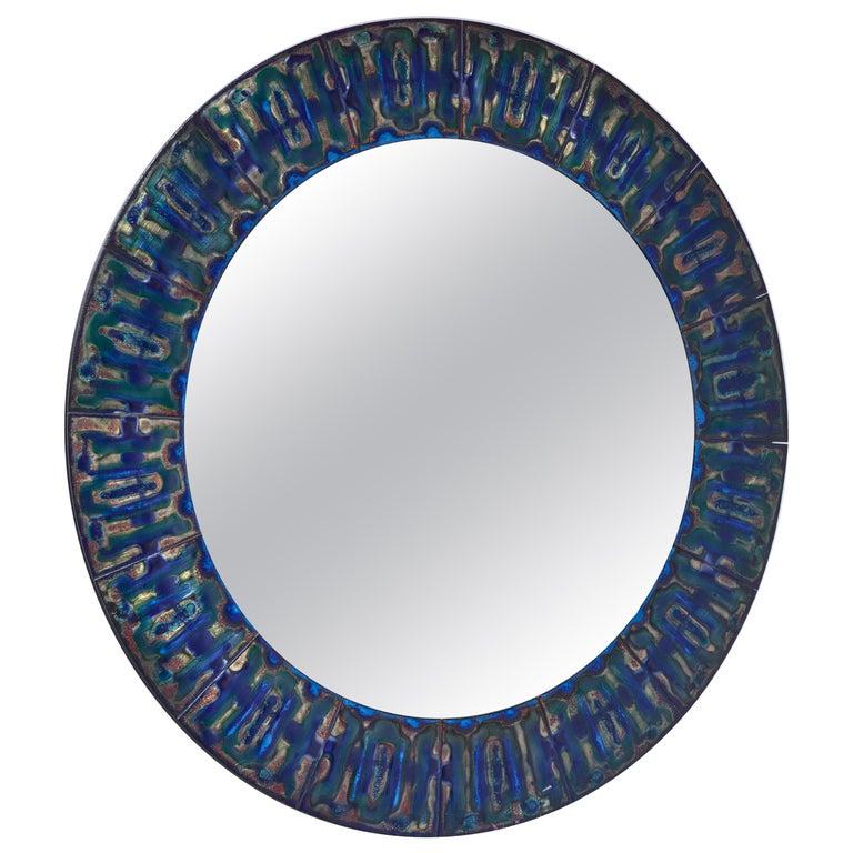 Bodil Eje Enameled Copper Wall Mirror, Denmark For Sale