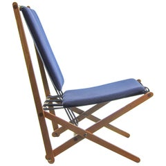 Blue Prototype Folding Chair by Benedikt Rohner for Oswald