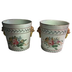 France Late 19th Century Pair of Pottery Cache Pots with Flowers and Lions Heads