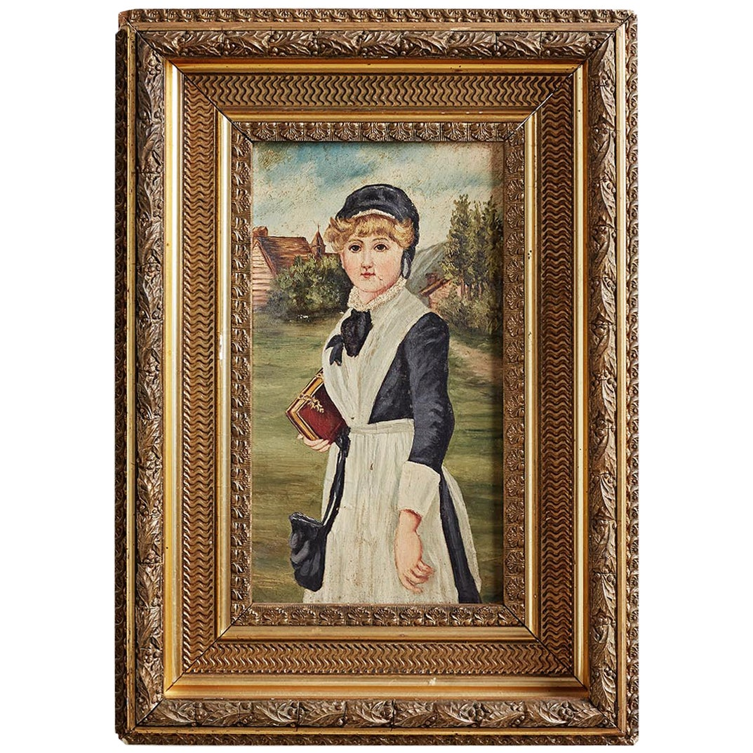 19th Century Folk Art Painting of a Young Girl