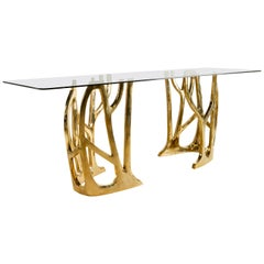 Brass Sculpted Console Table, Galaxy, Misaya