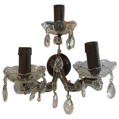 Louis XV Style Clear Glass with Pendants Two-Light Sconce