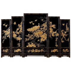 Chinese Lacquer Gilt Five Panel Peacock Screen
