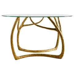 Brass Sculpted Console Table, Golden Tree, Misaya