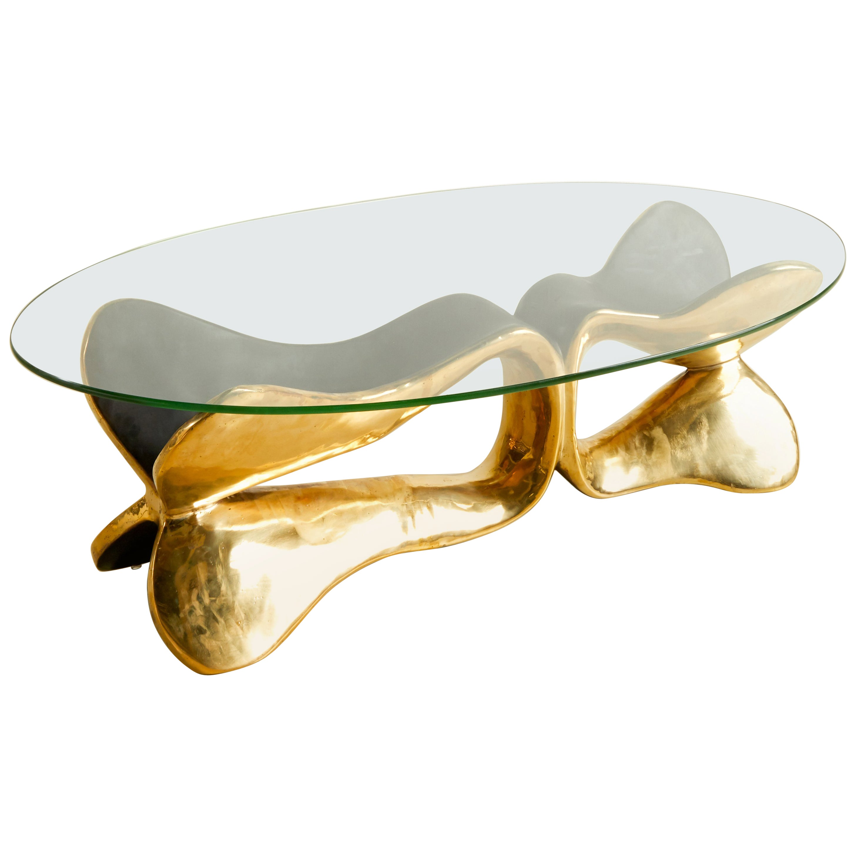 Brass Sculpted Console Table, Homage to Cesar's Compression, Misaya