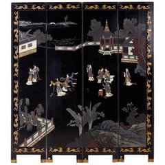 Chinese Export Four-Panel Lacquer Coromandel Screen