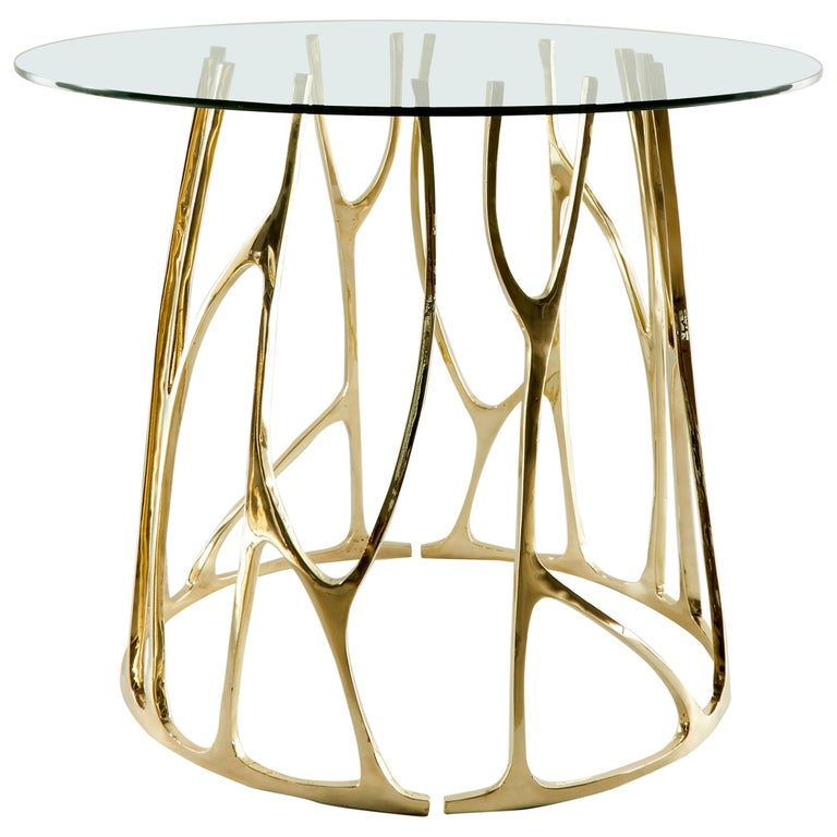 Brass Sculpted Round Table, Golden Roots, Misaya For Sale