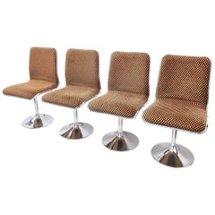 Four Tulip Chrome Base Dinning Chairs made by Tacke, Germany, 1970s