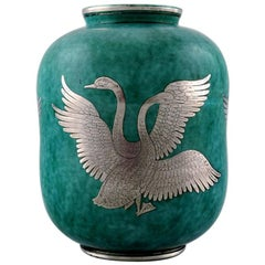 Wilhelm Kåge, Gustavsberg, Argenta Art Deco Ceramic Vase Decorated with Swans