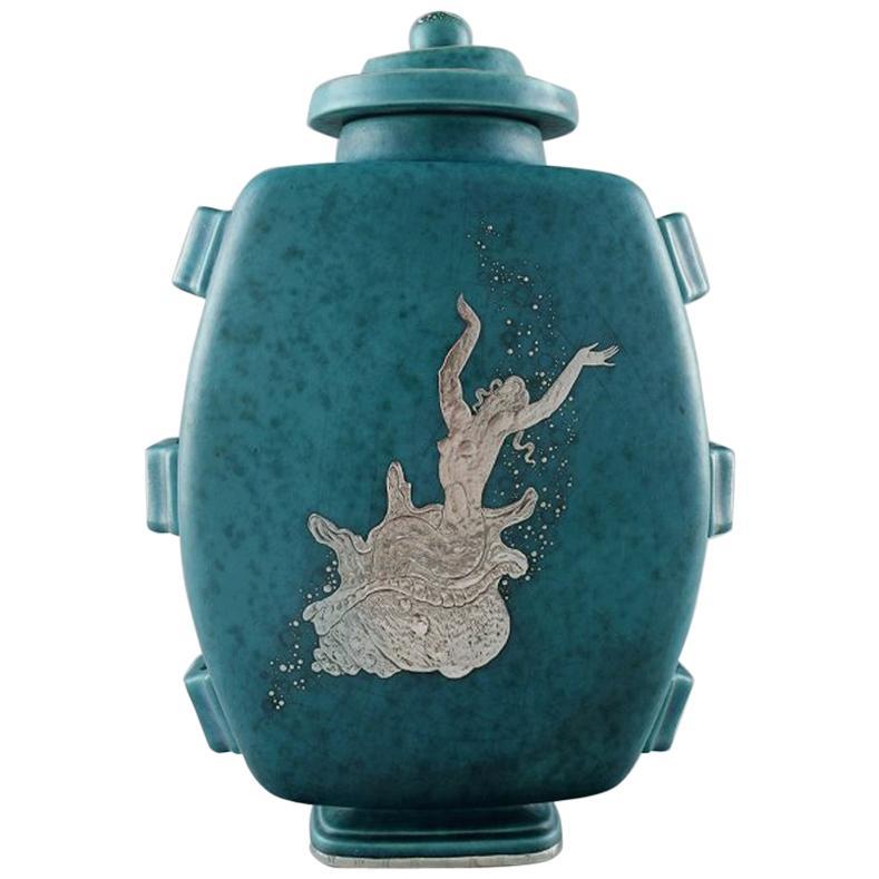 Wilhelm Kåge, Gustavsberg, Large Argenta Art Deco Lidded Vase in Ceramics
