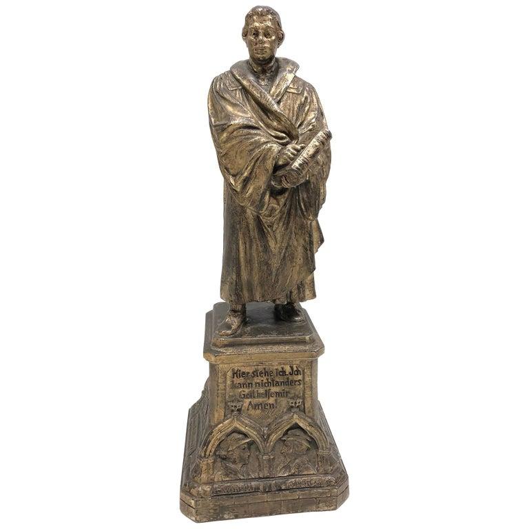Martin Luther Protestant Reformation Statue 1930s Vintage, German For Sale