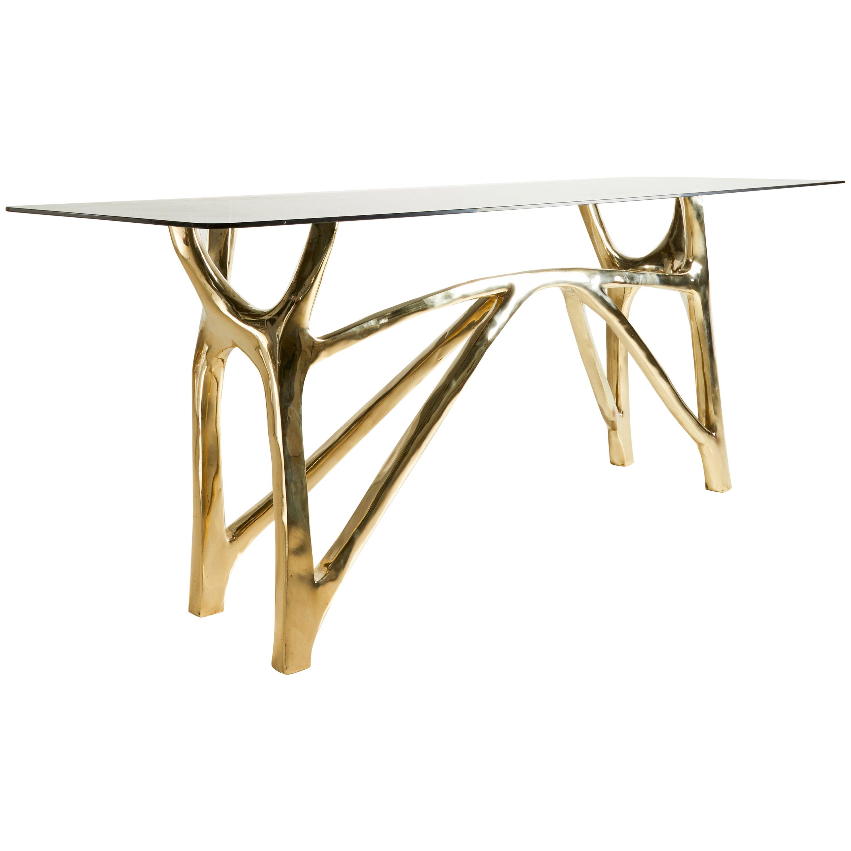 Brass Sculpted Console Table, Golden Symmetry, Misaya