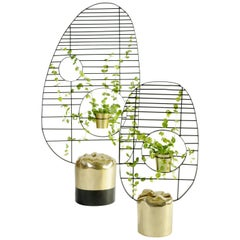 Pair of Contemporary Brass Screens, Meditations, Misaya