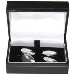 Pair of Edwardian Silver Oval Cufflinks, Charles Horner, dated 1909