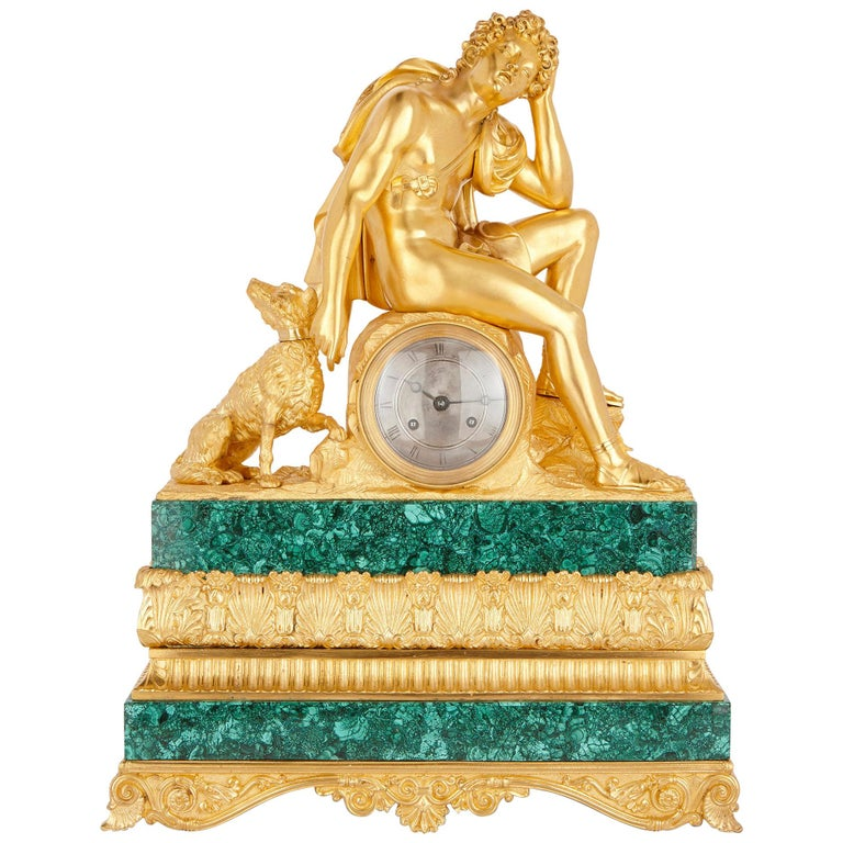 19th Century Malachite and Gilt Bronze Mantel Clock by Honoré Pons For Sale