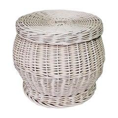 Midcentury Vintage Dutch White Wicker Basket with Lit