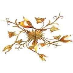 Huge Spanish Art Nouveau Style Gilt Iron Floral Wall Light / Ceiling Flush Mount