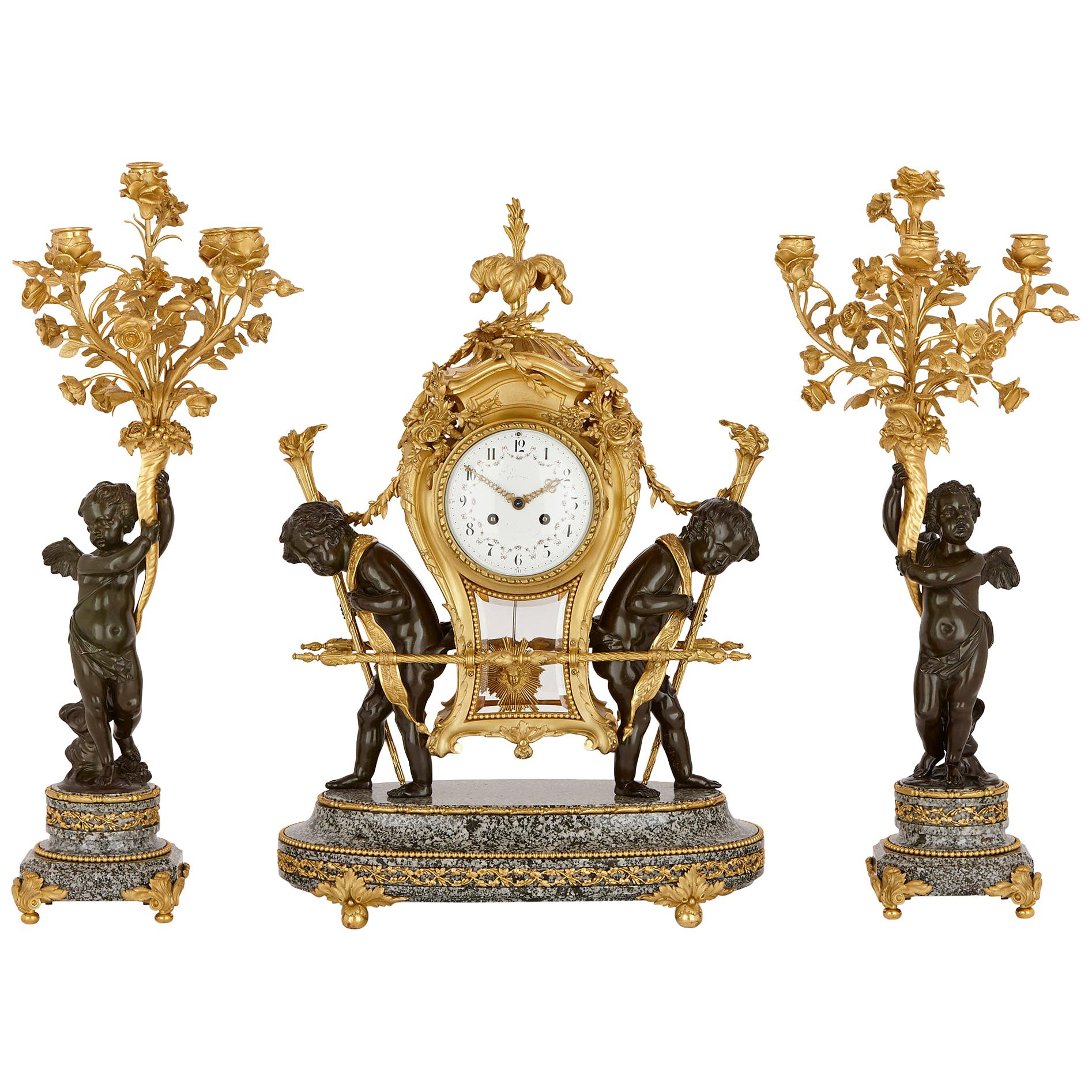 Antique Marble, Patinated and Gilt Bronze Clock Set by Gervais