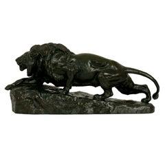 """Lion L'affut"" French Antique Bronze Sculpture by Isidore Jules Bonheur & Peyrol"