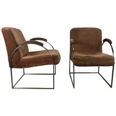 Pair of Milo Baughman Bauhaus Style Chrome and Mohair Lounge Chairs