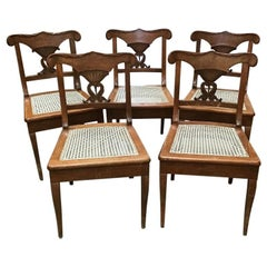 20th Century Set of Five Italian Wooden Chairs with Acrylic Strow Seat, 1940s