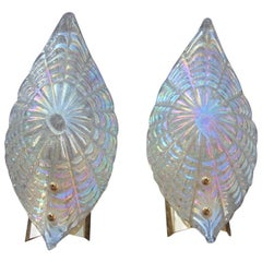 Pair of Sconces Murano Glass Rainbow with Luster Brass Gold Parts 1970s Italian