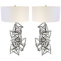 Custom Made Pair of Brutalist Lamps