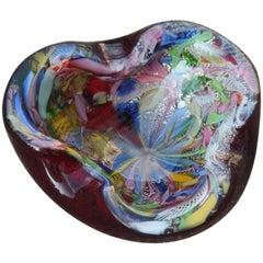 Midcentury Bowl Murano Glass Avem Multicolor Italian Design, 1950s Red White
