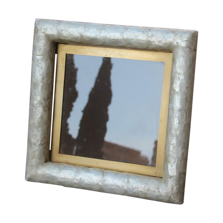 Paolo Traversi Photo Frame Mother of Pearl with Brass Design Gold Italian, 1970 For Sale
