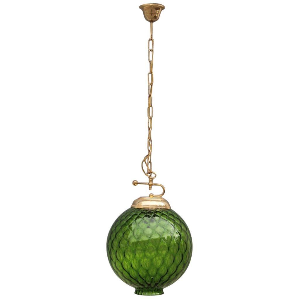 Venini Green Ball Chandelier Italian Midcentury Design 1960s Murano Glass Round