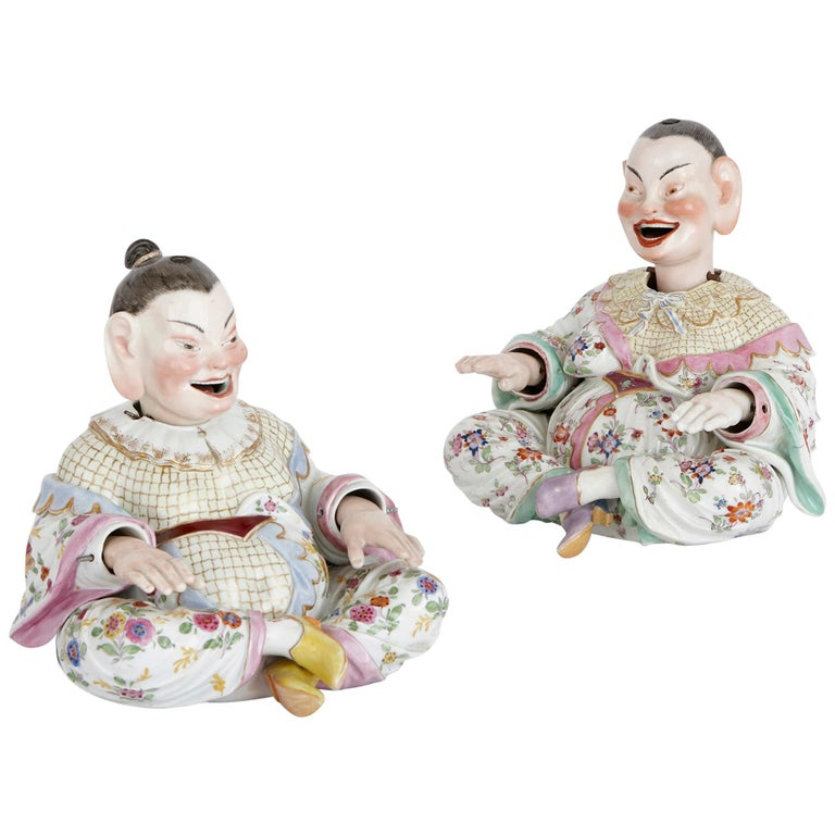 Two Meissen Porcelain Chinese Nodding Pagode Figures For Sale