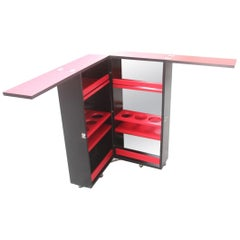 Bar Portable Black Cube Red Combined Secrets Cabinet Italy Laminate Sottsass