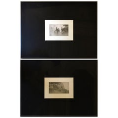 Early 20th Century Pair Japanese Black and White Paper Prints of Antique Screen